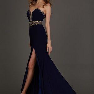 Angela & Alison navy strapless prom dress